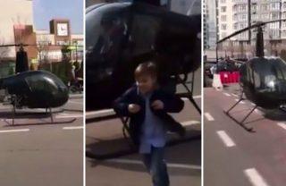Atrasado, aluno é deixado de helicóptero em escola